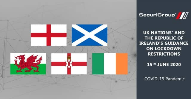 UK Nations' and the Republic of Ireland's Guidance on Lockdown Restrictions as of 15th June 2020